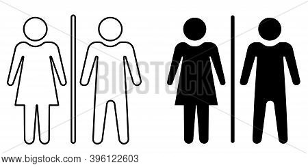 Silhouette Of A Man And A Woman. Couple Outline Icon. Articles Symbol, Marriage Silhouette, Toilet I