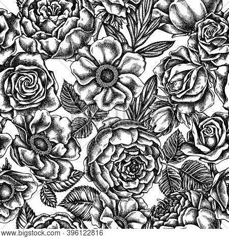 Seamless Pattern With Black And White Roses, Anemone, Peony Stock Illustration