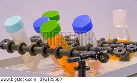 Chemistry, Pharmaceutical, Laboratory Equipment Concept. Orbital Shaker For Mixing, Shaking, Blendin