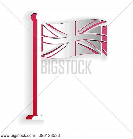 Paper Cut Flag Of Great Britain On Flagpole Icon Isolated On White Background. Uk Flag Sign. Officia