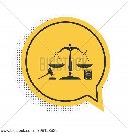 Black Scales Of Justice, Gavel And Book Icon Isolated On White Background. Symbol Of Law And Justice