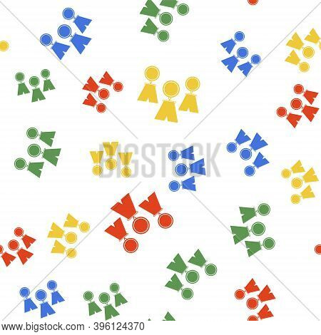 Color Medal Set Icon Isolated Seamless Pattern On White Background. Winner Simbol. Vector