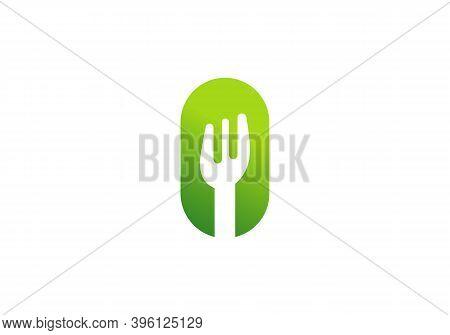 Restaurant And Food Logo Design Fork Symbol With O Letter.