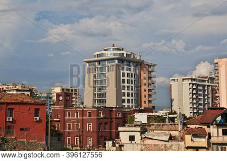 Durres, Albania - 08 May 2018: The House In The Center Of Durres, Albania