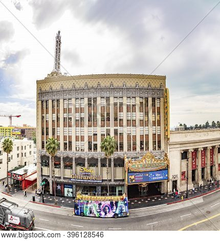 Los Angeles, Usa - Mar 5, 2019: Hollywood And Facade Of Famous Cinema El Capitan By Day.
