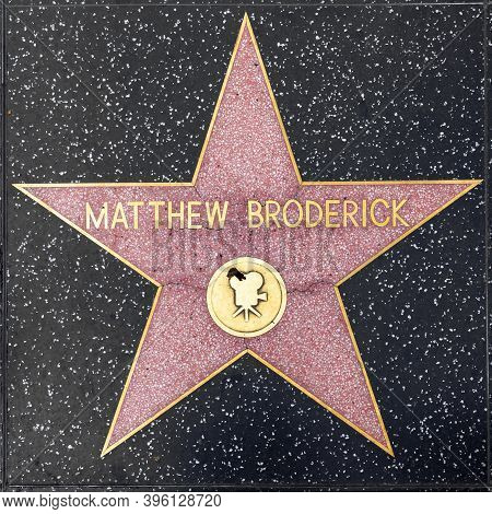 Los Angeles, Usa - Mar 5, 2019: Closeup Of Star On The Hollywood Walk Of Fame For Matthew Broderick.