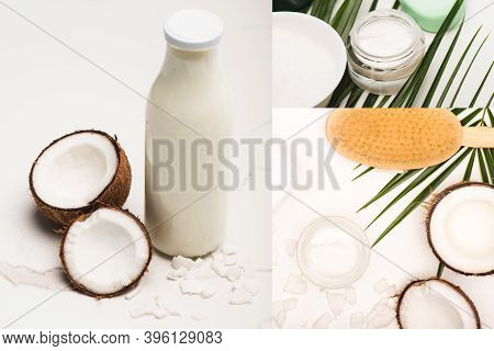 Collage Of Coconut Halves, Milk And Flakes, Cosmetic Cream And Massage Brush Near Palm Leaves On Whi