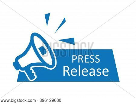 Press Release Icon. News With Megaphone. Newspaper With Announcement. Symbol Of Daily Media. Latest