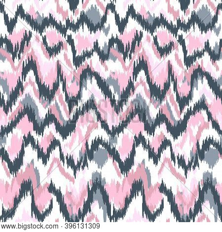 Colorful Lines, Zigzag Pattern With Stylish Color Tones. Geometric Moroccan Rug With Zigzag Ornament