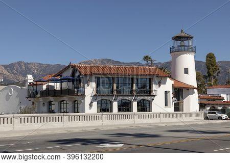Santa Barbara, Usa - Mar 16, 2019: View Of Rebuilt Lighthouse In Santa Barbara. It Serves As Restaur