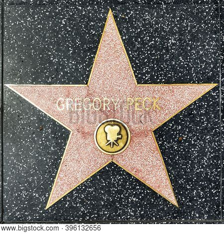 Los Angeles, Usa - Mar 17, 2019: Closeup Of Star On The Hollywood Walk Of Fame For Gregory Peck.