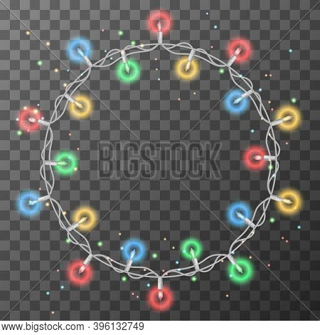 Christmas Lights String. Christmas Lights Set, Colored Garlands, New Year Design,festive Decorations