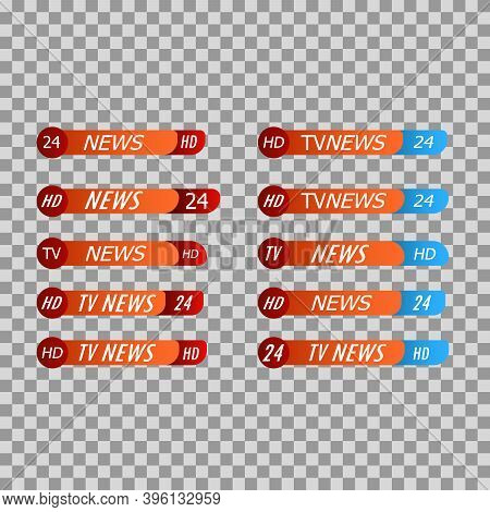 Tv Live News Bars Vector Illustrations Set. Headline Titles Design Templates Isolated. Set Of Broadc