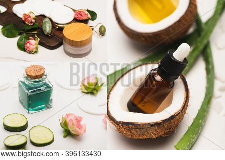 Collage Of Coconut Halves, Bottle Of Essential Oil, Aloe Vera Leaves, Homemade Cosmetics, And Jade R