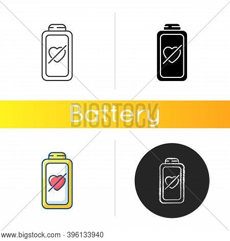 Fully Discharged Battery Icon. Low Percantage On Your Device. Disabled System. Need Conecting To Cha