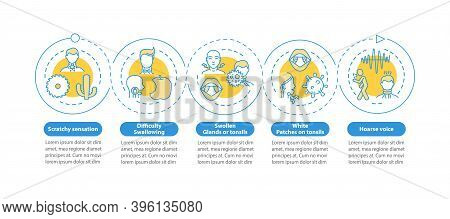 Pharyngitis Symptoms Vector Infographic Template. Scratchy, Swollen Glands Presentation Design Eleme