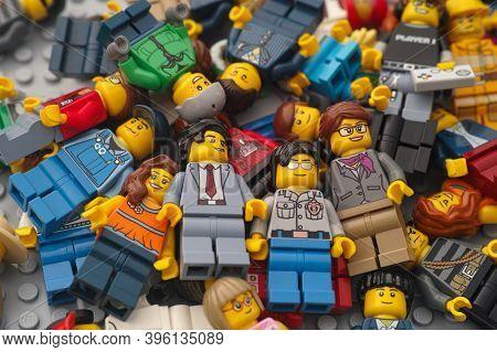 Tambov, Russian Federation - November 17, 2020 Heap Of Lego Minifigures.