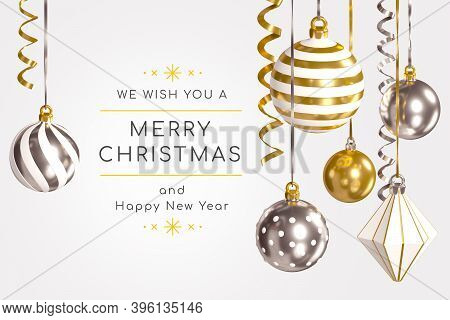 Merry Christmas And Happy New Year - Modern Colorful 3d Banner