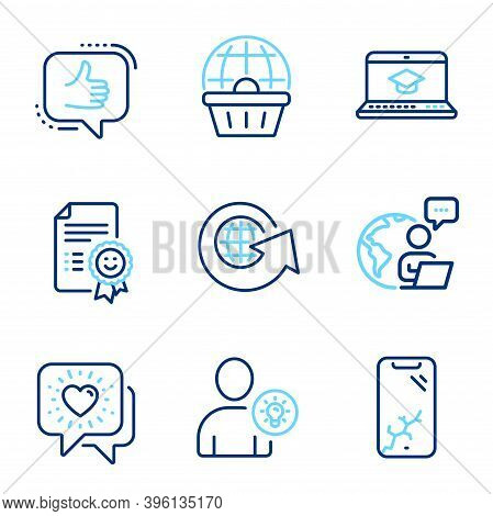 Technology Icons Set. Included Icon As User Idea, Website Education, Smartphone Broken Signs. World