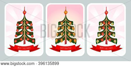 New Year And Christmas Card Set With Christmas Pine Tree, Baubles And Cones. Holiday Greetings Card