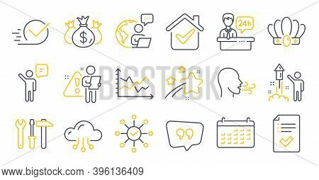 Set Of Business Icons, Such As Quote Bubble, Approved Checklist, Fireworks Symbols. Agent, Check Inv