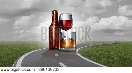 Drunk Driving And Drinking On The Highway Under The Influence As A Road With Alcoholic Drinks As Bee