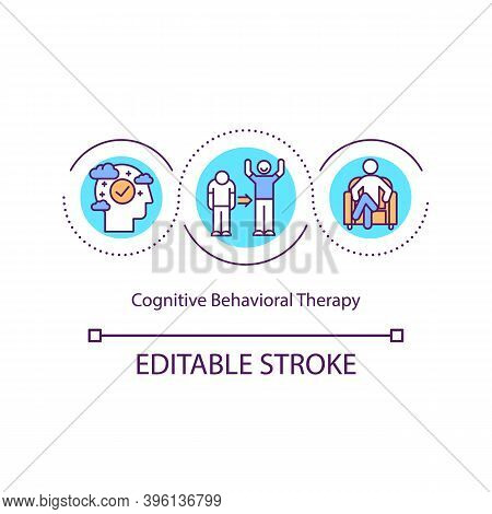 Cognitive Behavioral Therapy Concept Icon. Change People Behaviour Problems. Psychotherapy Treatment