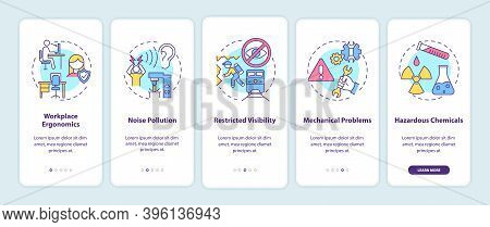 Workplace Safety Concerns Onboarding Mobile App Page Screen With Concepts. Workplace Ergonomics Walk