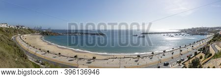 Sines, Portugal - March 9, 2020: Old Scenic Fbeach Promenade Vasco Da Gama In Sines, Portugal.