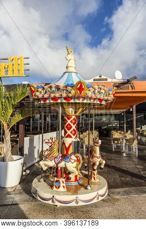 Playa Blanca, Spain - May 8, 2020: Empty Children Carousell Due To Corona Shutdown In Lanzarote, Spa