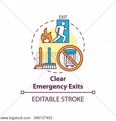 Clear Emergency Exits Concept Icon. Workplace Safety Elements. Keep Fire Exit Area Clear From Obstru