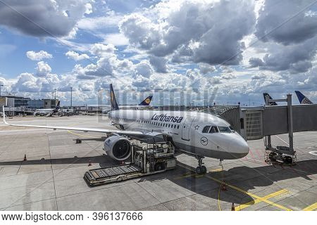 Frankfurt, Germany - June 8, 2020: Lufthansa Aircraft At Ground Ready For Boarding During The Reduce