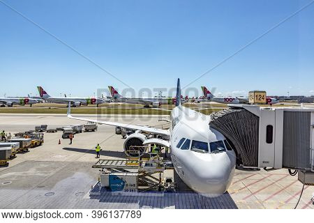 Lisbon, Portugal - June 8, 2020: Lufthansa Aircraft At The Gate. Tap Aircraft Are Parked At The Apro