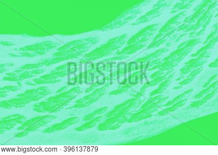Bright Green Mint Patchy Background With Spots