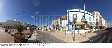 Carvoeiro, Portugal - June 11, 2020: Scenic View Of Village Of Carvoeiro At The Algarve. Due To The
