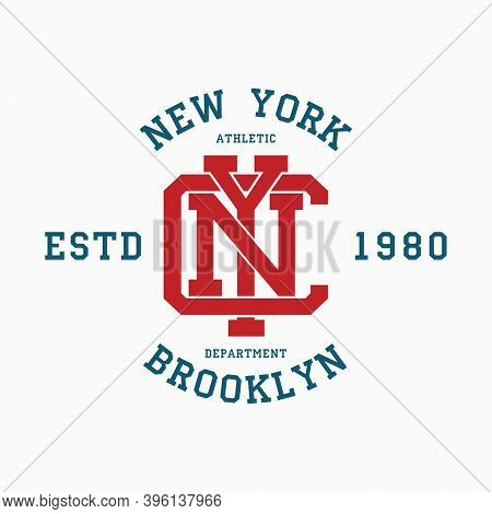 New York College Typography For T-shirt. Brooklyn Slogan Tee Shirt, Sport Apparel Print. Nyc Vintage
