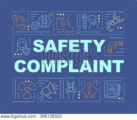 Safety Complaint Word Concepts Banner. Workplace Violence. Work-related Injuries. Infographics With