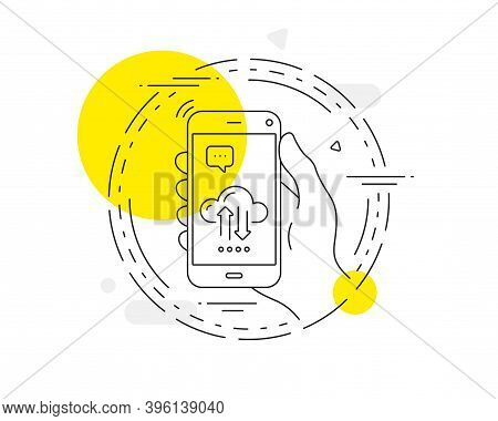 Cloud Computing Sync Line Icon. Mobile Phone Vector Button. Internet Data Storage Sign. File Hosting
