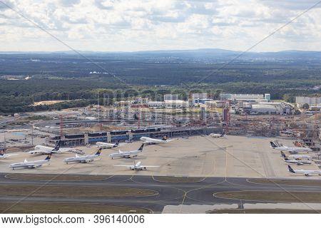 Frankfurt, Germany -july 11, 2020: Lufthansa Aircrafts Parking At Frankfurt Airport.