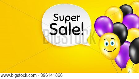 Super Sale. Smile Balloon Vector Background. Special Offer Price Sign. Advertising Discounts Symbol.