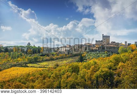 Castellina In Chianti Village, Vineyard And Autumn Foliage. Tuscany, Italy. Europe.