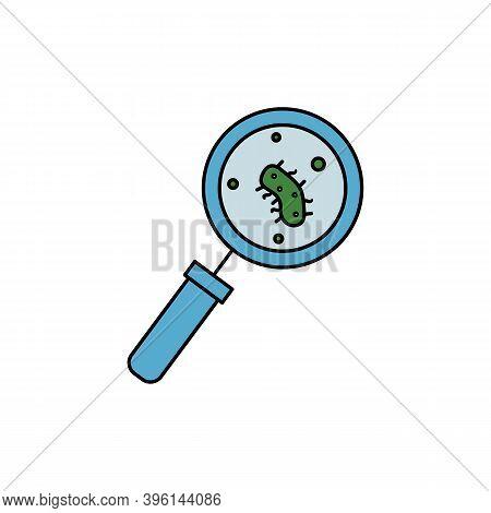 Loupe Laboratory Equipment Magnifying Glass Line Icon. Element Of Bacterium Virus Illustration Icons