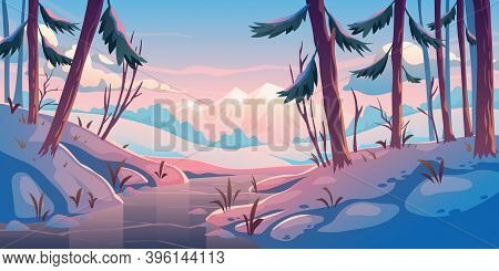 Winter Forest With Frozen River. Nature Landscape Background With Conifers Trees And Mountains Cover