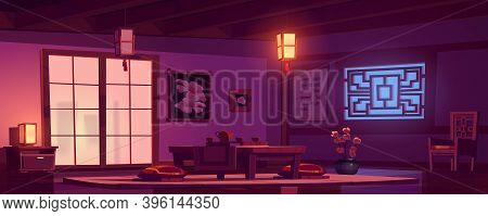 Chinese Living Room With Wooden Table, Chair And Red Cushions At Night. Vector Cartoon Interior Of C