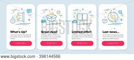Set Of Technology Icons, Such As Sign Out, Book, Open Box Symbols. Mobile App Mockup Banners. Call C