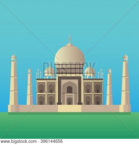 Taj Mahal Indian National Sight. Traditional Indian Architecture. Vector Illustration Background For