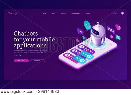 Mobile Chatbot App Isometric Landing Page, Application For Sms Messaging, Smartphone Interface With