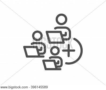 Add Team Line Icon. Teamwork Sign. Remote Team Employees Symbol. Quality Design Element. Linear Styl