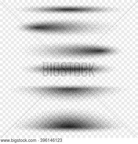 Stipple Gradient Oval Shadow Set, Various Round Halftone Dot Gradient Vector