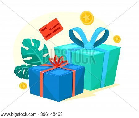 Green And Blue Gift Boxes With Red Ribbon, Bonus Money, Earn Points, Loyalty Program, Win Prize, Cas